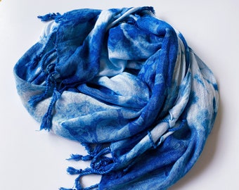 INDIGO hand woven rayon scarf shawl wrap / hand-dyed with indigo / blue scarf with fringe / blue tie dye scarf / blue shawl / blue wrap