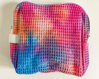 POPSICLE waffle pouch makeup bag / tie dye makeup bag / pink makeup bag / waffle makeup pouch / pink makeup bag / cosmetic bag