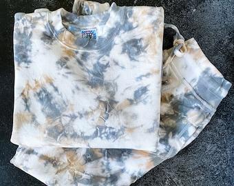 SANDSTONE gray and tan tie dye hoodie or crewneck sweatshirt and joggers set / neutral tie dye set / tie dye sweatsuit / tie dye set
