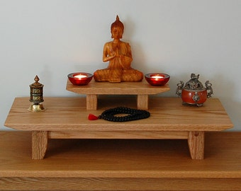 Solid oak table top Buddhist meditation shrine with a removable pedestal.  (Free shipping)