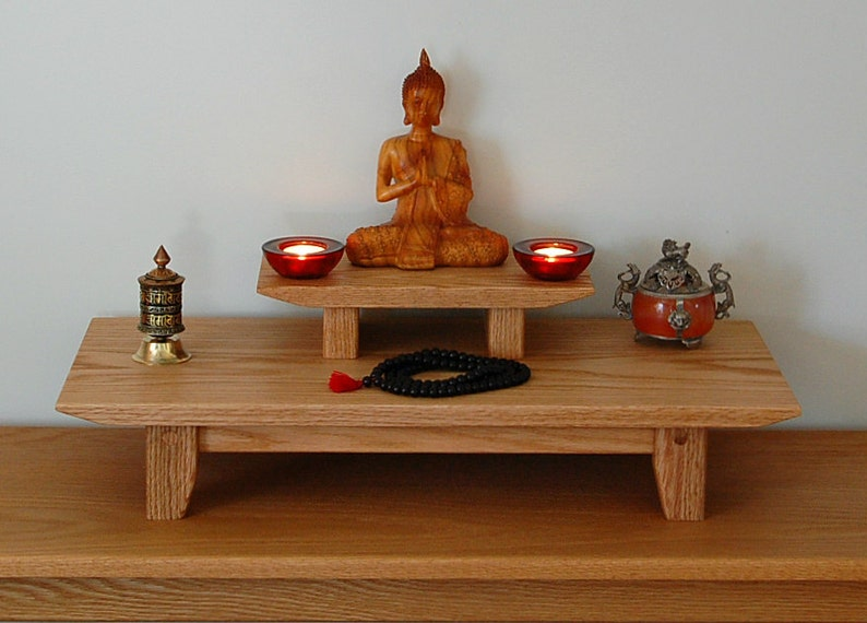 Solid oak table top meditation shrine with a removable image 0