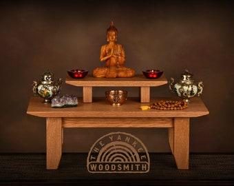 Oak meditation altar - shrine wth a removable pedestal