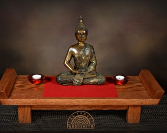 Table top Buddhist meditation altar with a Buddha Statue.  Free Shipping