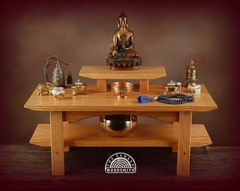 Floor style Buddhist meditation shrine/altar with pedestal.   Free shipping