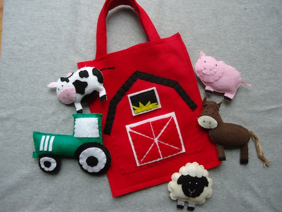 Farm Animal Stuffed Toys With Barn Bag Includes A Cow Horse Etsy