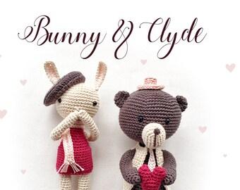 Crochet pattern: Bunny & Clyde • Amigurumi doll valentine's day couple • Bear + Bunny Lovers [Pdf DE+EN] - Instant download - by Polaripop
