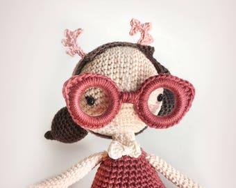 Amigurumi Pattern Crochet doll • Mora the Mothgirl • Crochet this cute kawaii gothdoll with glasses, gift for kids gift for girls Pdf EN,DE