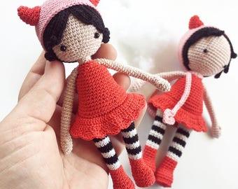Amigurumi Pattern • Dolores the Daredevil Doll • Crochet pattern for cute kawaii devildoll, halloweendoll, halloweengift, gift for kids Pdf