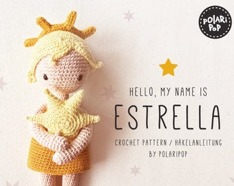 Amigurumi doll pattern Estrella, Crochet Angel embracing Star • Cute kawaii christmas gift, for beginners, Instant Pdf De, En, It, Ru