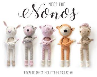 Amigurumi pattern - Set of 5 crochet Dolls - The NONOs • Crochet Bunny, Horse, Amigurumi Fox, Mouse, Piglet • DE + EN - Instant download Pdf