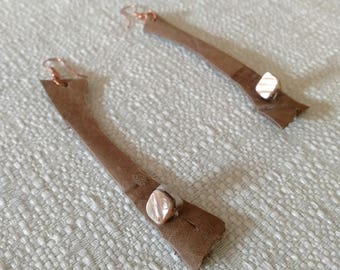 Shell Leather Copper - OOAK Beadzilla Earrings