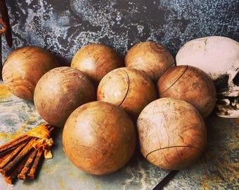 Bocce Balls / Wooden Bocce Balls / Eight Vintage Art Deco Balls / Circa 1900