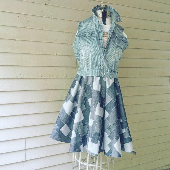 Denim Patchwork Print Dress / L
