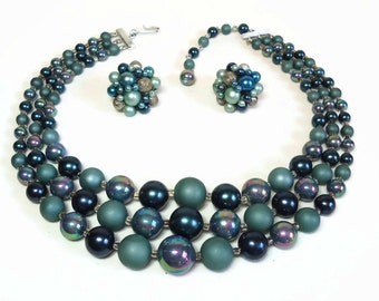 Japan Bead Bid Necklace & Clip Earrings in 3 Strands of Carnival Glass and Monochromatic Blue Beads - Vintage 50's/60's Costume Jewelry Sets