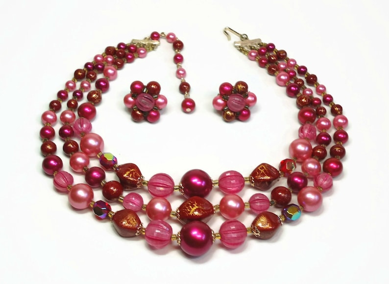 Vintage Japan 3 Strand Bib Necklace /& Earring in Purple Costume Jewelry Demi Parure Set Pink and Merlot Red Bead Accents
