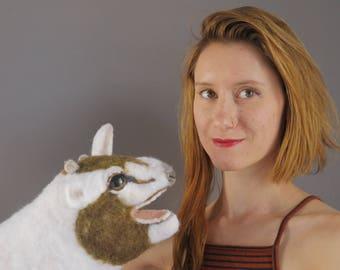 Kid chèvre marionnettes - marionnette animaux / main marionnette / marionnette à main / marionnettes en feutrine animaux en feutre à l'aiguille de marionnettes feutrée / bébé animal / / jouet / art