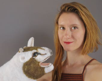 Kid Goat PUPPET - animal puppet / handmade puppet / hand puppet / felt puppet / felt animal / needle felted puppet / baby animal / toy / art