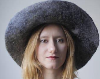 Farmhouse Hat - miniature landscape / winter hat / felt hat / art fashion / couture hat / broad brim / halo / circle / art / wood sculpture