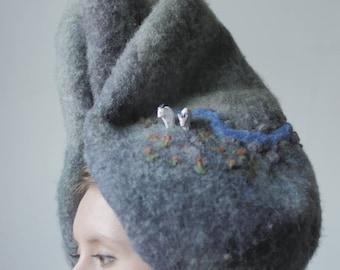 CHÈVRE de montagne - chapeau élégant / formel chapeau Vintage chapeau / chapeau de couture / main bonnet / chapeau en feutre / à la mode chapeau / artistique chapeau / animal