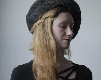 BÉRET à la main - béret en feutre / feutrée chapeau / béret de français / formel chapeau / main chapeau / noir bonnet / chapeau en feutre d'aiguille / modiste / simple chapeau