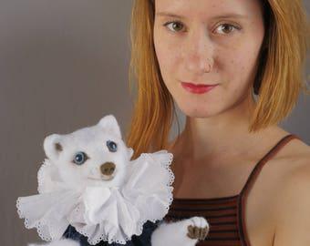 RENARD arctique marionnettes - marionnette main / marionnettes en feutrine / animal marionnette / renard / aiguille feutrée marionnettes marionnette à main / velours / robe / tour de cou ruff