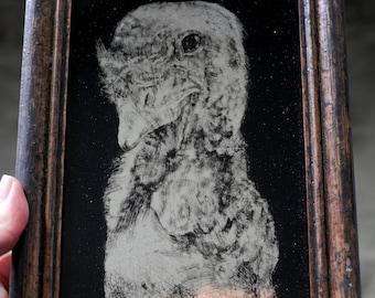 Portrait d'une Turquie - dorée - 13,25 carats en or blanc / verre eglomise animaux droits animaux sanctuaire / verre / eglomise / en relief.