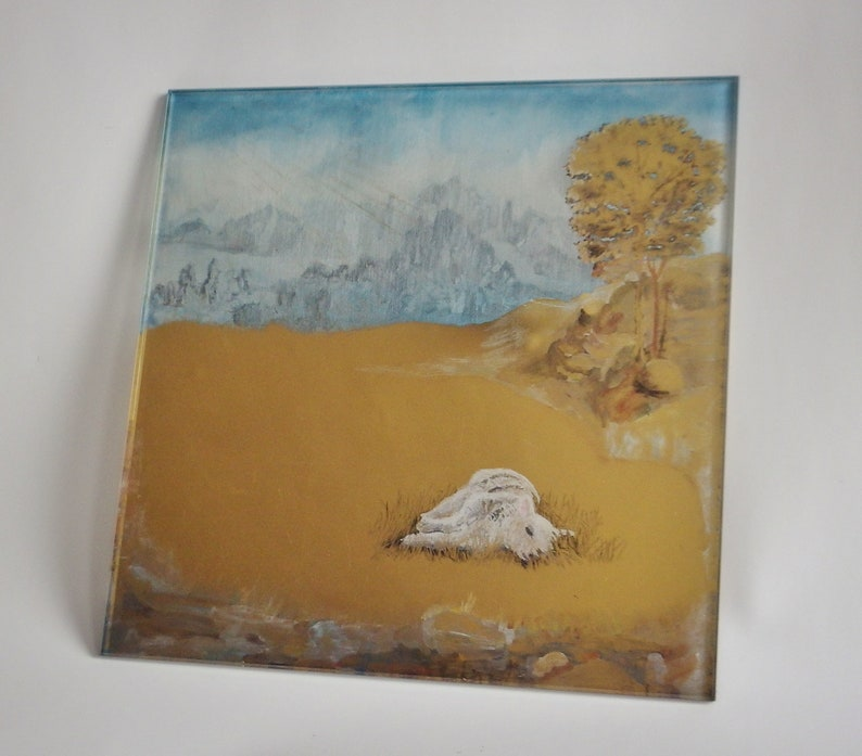 Lamb in field  gilded glass / artwork / gold leaf / painting image 0