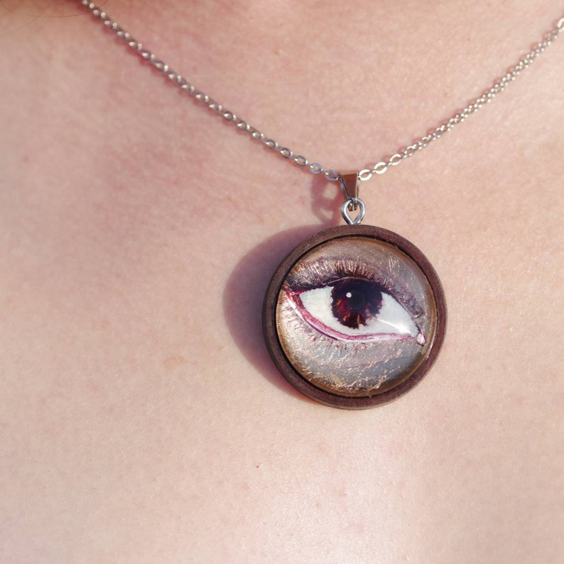 Brown Eye Necklace  wearable art / 20k moon gold / painting / image 0