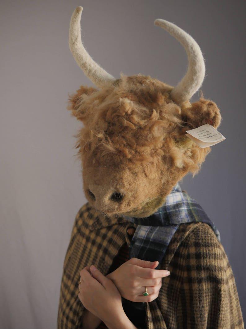 Highland Cow Mask  handmade / felt / felting / needle felted image 0
