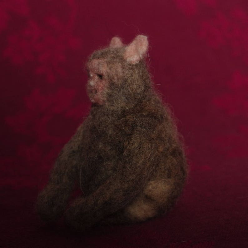 Rhesus Macaque Monkey   handmade / felt / miniature animal / image 0