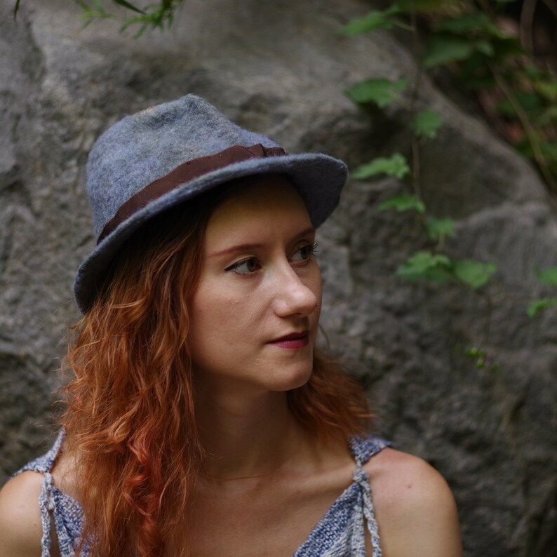 Handmade Fedora  Felt hat / needle felted / vintage style / image 0