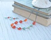Spitfire Necklace, Fog and Fern, Carlie Beads, Amazonite, Carnelian, Antique Brass, Rustic, Alaska, Yukon, Blue, Orange, Nuggets