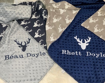 Baby boy deer buck personalized outfitnewborn coming home Baby shower gift for boytake home outfit for boydeer baby clothes