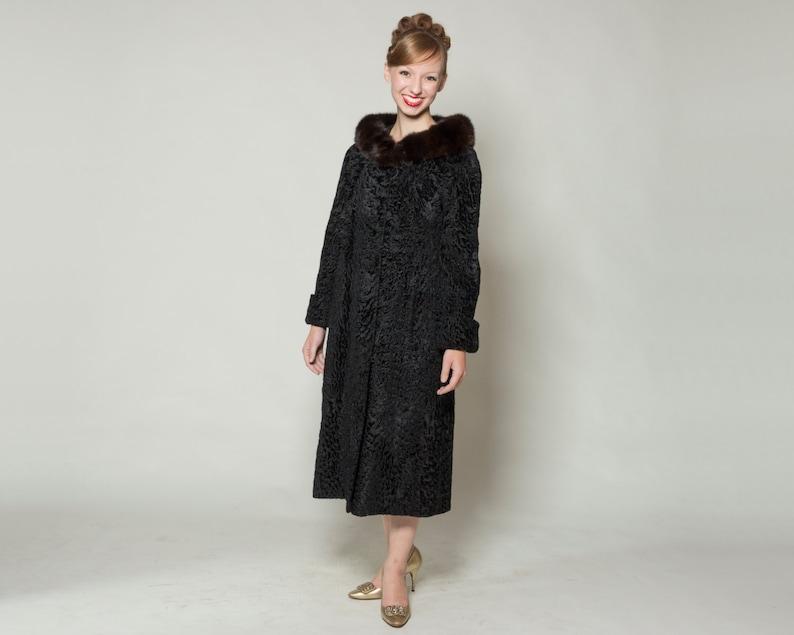 79eaa8e35dd9da Vintage 1960s Black Fur Coat Persian Lamb Broadtail Sable