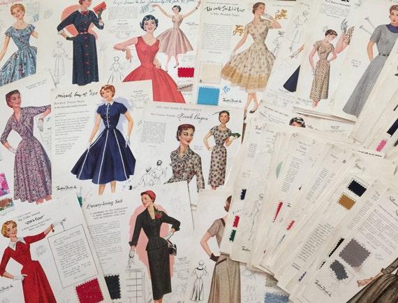 Vintage 1950s Fashion Frocks Illustrations Pdf Salesman Etsy