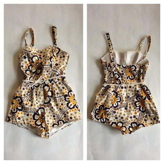 Vintage 1960s Swimsuit Cotton Romper - Floral Pin