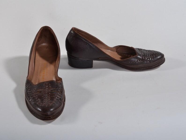 Lagarto N Travesuras Brown Lizard 7 Java Caída 6 Modas Zapatos Vintage Tamaño Mocasines 1940s WY29eEHID