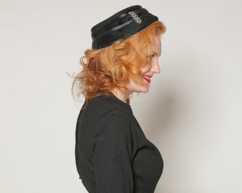 French Fashions Pinehurst for Macy/'s Vintage 1950s Black Rhinestone Hat