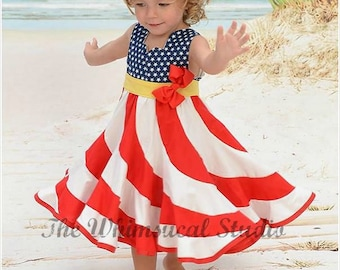 American Flag dress Patriotic Swirl Dress 4th of July Dress Red White Blue Dress Military kids Pageant Dress Peppermint Swirl Flag Dress