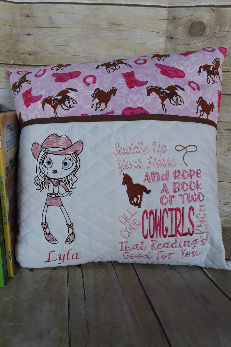 Personalized Cowgirl Reading Book Pillow Birthday Gift For
