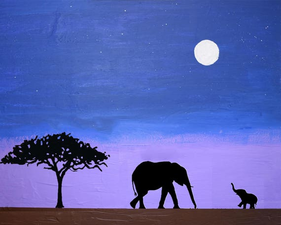 36x24 Framed Gallery Wrapped Stretched Canvas Bear Silhouette and Full Moon