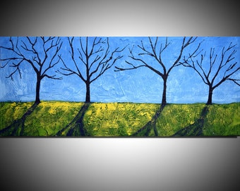 """extra large wall art tree of life painting  abstract impasto painting impasto art palette knife 48 x 20"""""""