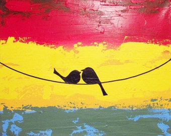 love bird painting abstract landscape nursery canvas wall art canvas on a wire red yellow orange  tree of life
