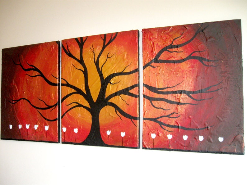 gold tree extra large Wall art triptych Wildwood image 1