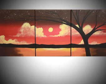 landscape oil modern painting canvas triptych wall art three panel gallery abstraction contemporary art tree of life 48 x 20