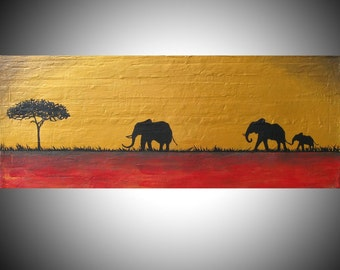 elephant good luck animal african art landscape pop abstraction contemporary africa animal 16 x 40 or 16 x 48