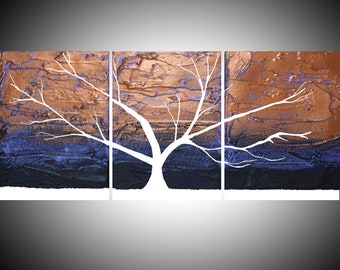 """Original acrylic """" Tree of Light """" paintings on canvas abstract triptych landscape tree of life painting large wall art Modern 20 x 48 """""""