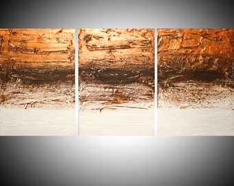 """EXTRA LARGE WALL art triptych 3 panel wall """" Copper Tones """" home decor in copper on canvas original painting abstract artwork 48 x 20"""""""