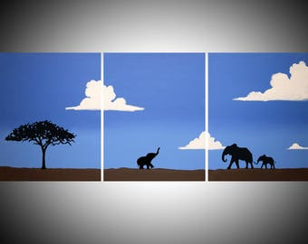 """elephant good luck animal african art landscape pop abstraction clouds contemporary AFRICA animal 48 x 16"""""""