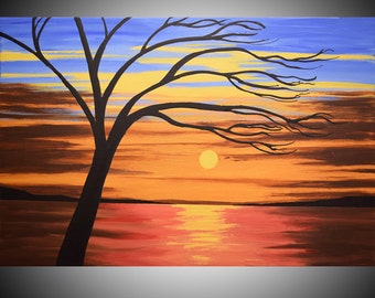 """large original huge oversized wall art abstract hanging paintings on canvas 36 x 24 """" oil landscapes home decor"""
